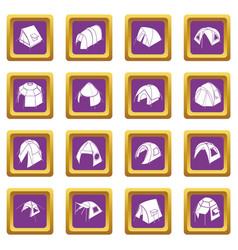 tent forms icons set purple square vector image