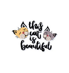 this cat is beautiful handwritten black text vector image