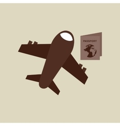 Travel airplane passport bag vector