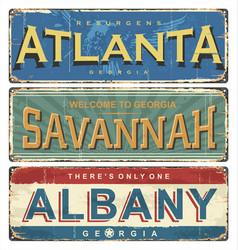 us georgia atlanta albany savannah vector image
