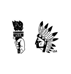 usa logo badges set american indian and statue vector image