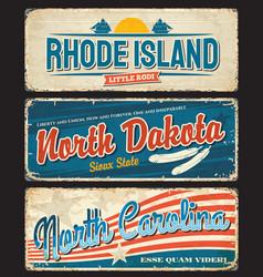 Usa states rhode island dakota carolina plates vector
