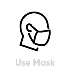 Use mask protection measures icon editable line vector