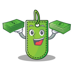 With money price tag mascot cartoon vector