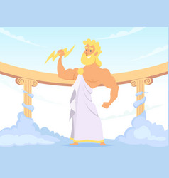Zeus greek ancient god of thunder and lightning vector