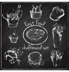 Fast food icon chalkboard vector image vector image