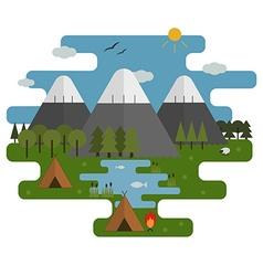 Mountain Lake Camp Ecological Landscape vector image