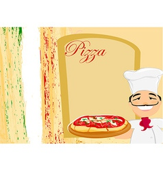 chef with pizza - Menu Template vector image vector image