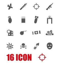 grey terrorism icon set vector image