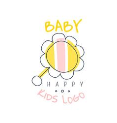 happy baby kids logo colorful hand drawn vector image vector image