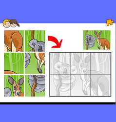jigsaw puzzles with animal characters vector image