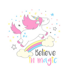 magic cute unicorn in cartoon style vector image vector image