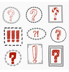 question and exclamation marks on hand drawn vector image vector image