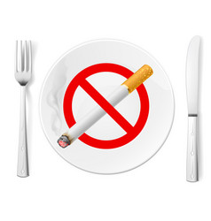 the sign no smoking on a plate with fork and knife vector image vector image