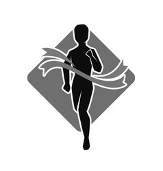 unknown athlete crosses finish line professional vector image vector image