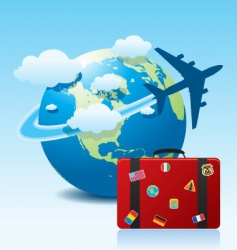 airplane travel with suitcase vector image