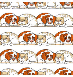 Cartoon dog and cat on white seamless vector