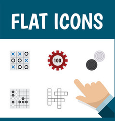 flat icon play set of gomoku chequer guess and vector image