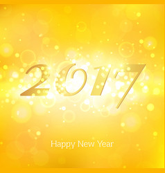 happy new year 2017 on gold abstract background vector image vector image