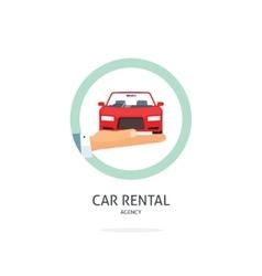 Rent a car agency logo rental automobile vector image