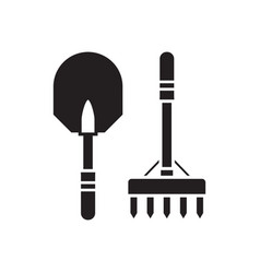 shovel and rake outline icon vector image vector image