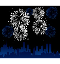 vector fireworks over a city vector image vector image