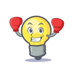 Boxing light bulb character cartoon vector