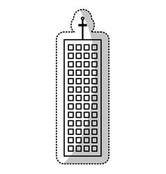 building facade structure cut line vector image