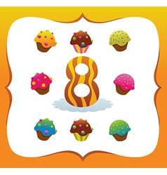 Collection Sweet Numbers for Kids 8 vector image vector image