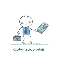 diplomatic worker holds a mobile vector image vector image