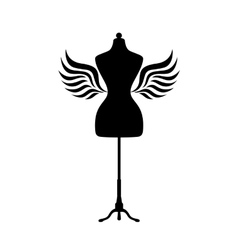 Mannequin silhouette with wings vector image