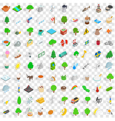 100 sweden icons set isometric 3d style vector image