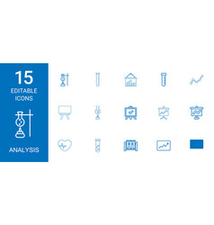 15 analysis icons vector