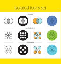 abstract symbols icons set vector image
