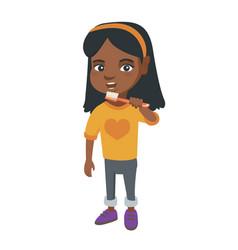 african-american little girl brushing her teeth vector image