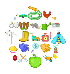 agriculture icons set cartoon style vector image