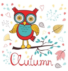 Autumn floral card with cute owl vector