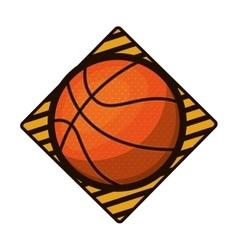 basketball tournament emblem with ball vector image