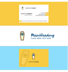 Beautiful coffin logo and business card vertical vector