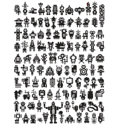 Big set of icons with monsters and robots vector