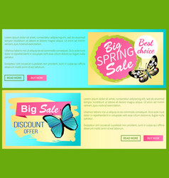 big spring sale discount offer stickers web poster vector image
