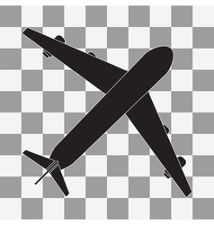 Black Plane icon on transparent vector image