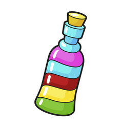 bright bottle icon rainbow beverage and liquid vector image