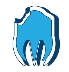 Broken molar icon vector