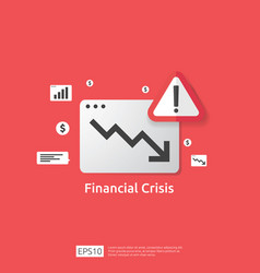 business finance crisis concept with alert vector image