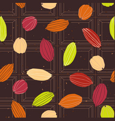 cacao pods on chocolate tablet seamless pattern vector image