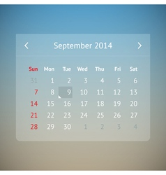 Calendar page for September 2014 vector