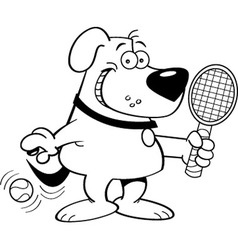 Cartoon dog playing tennis vector image