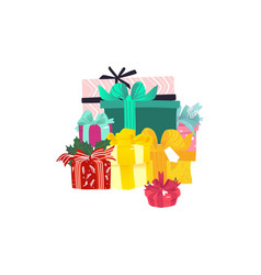 cartoon present gift box ribbon bow vector image
