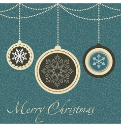 Christmas card with balls and snowflakes vector image